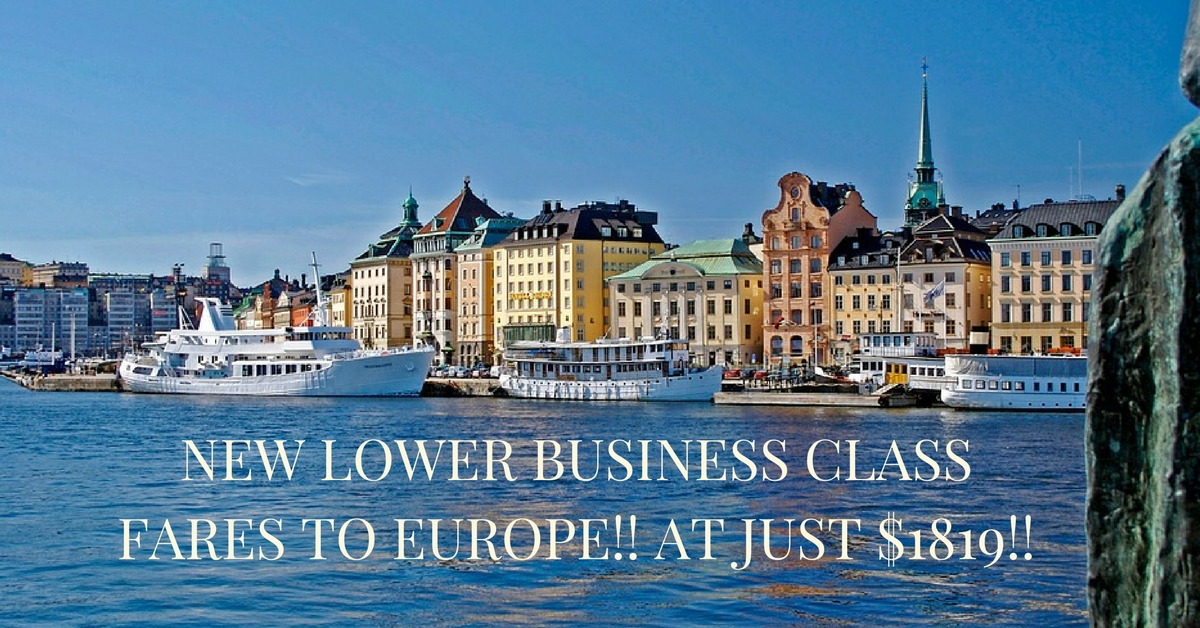 New Lower Business Class Fares to Europe!! at just $1819!!