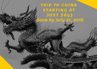 Trip to China starting at just $643