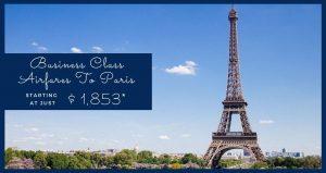 Business Class Flights To Paris